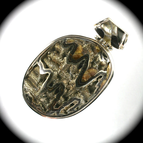 Simbircite Pyrite Drusy pendant with inlaid bail
