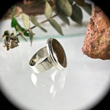 Dinosaur bone sterling silver ring