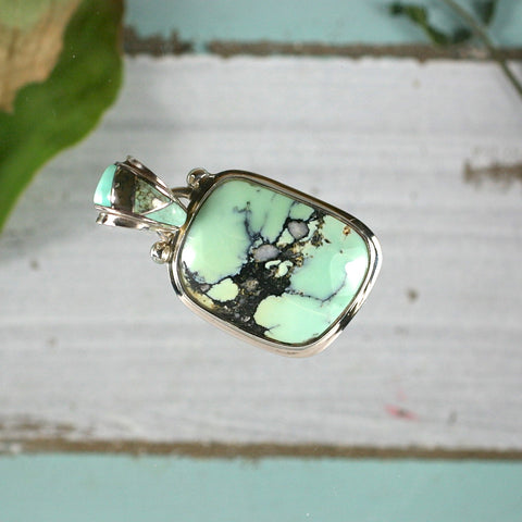Variscite sterling silver pendant with inlaid bail