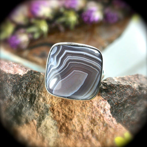 Botswana Agate sterling silver ring
