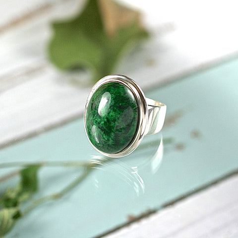 Jadeite sterling silver ring - Rusmineral cabochons&jewelry - 1