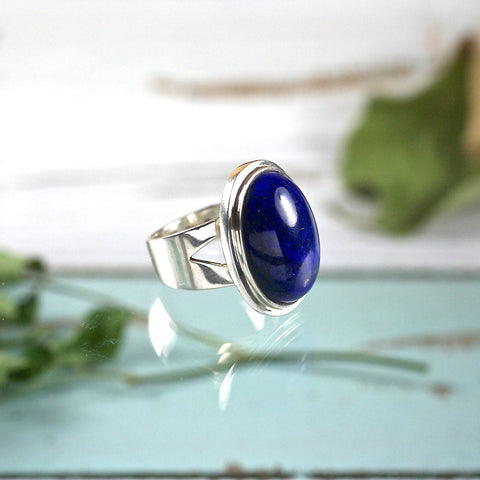 Lapis Lazuli sterling silver ring - Rusmineral cabochons&jewelry
