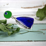 Lapis Lazuli sterling silver pendant with enameled bail - Rusmineral cabochons&jewelry