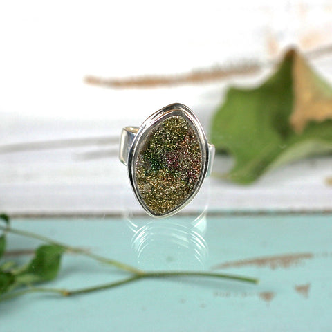 Pyrite Druzy Rainbow sterling silver ring - Rusmineral cabochons&jewelry - 2