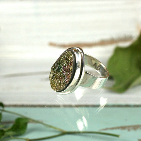 Pyrite Druzy Rainbow sterling silver ring - Rusmineral cabochons&jewelry - 1