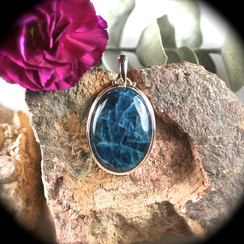 Blue Apatite sterling silver pendant