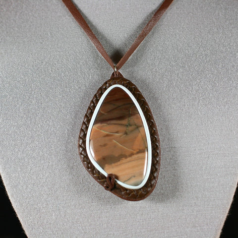 Picture Jasper leather necklace - Rusmineral cabochons&jewelry - 1