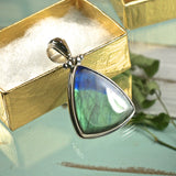 Spectrolite Pendant with inlaid bail - Rusmineral cabochons&jewelry - 1