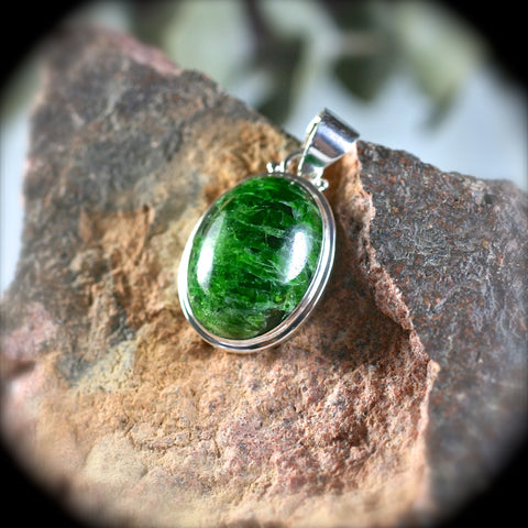 Pendants tagged chrome diopside rusmineral cabochonsjewelry chrome diopside sterling silver pendant aloadofball Image collections