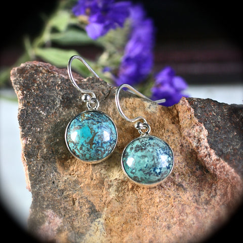 Shattuckite sterling silver earrings