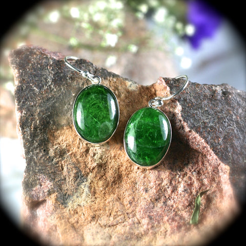 Chrome Diopside sterling silver earrings