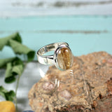 Gold in Quartz sterling silver ring - Rusmineral cabochons&jewelry