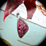 Eudialyte iridescent sterling silver pendant