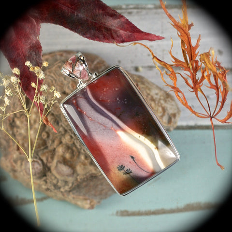 Mookaite Jasper sterling silver pendant w/inlaid bail