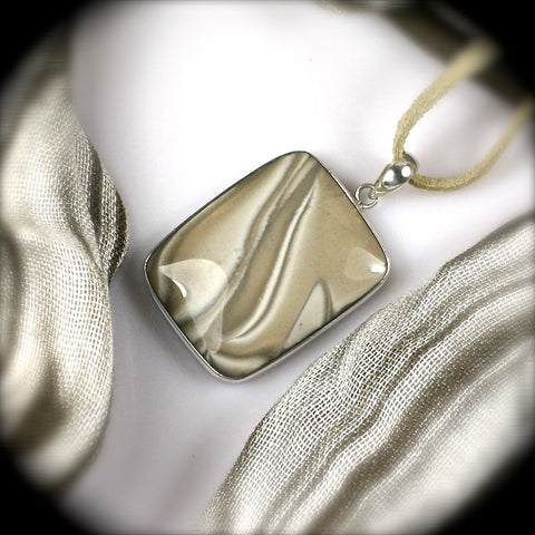 Polish Flint sterling silver pendant - Rusmineral cabochons&jewelry - 1
