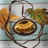 Simbircite leather necklace - Rusmineral cabochons&jewelry - 1