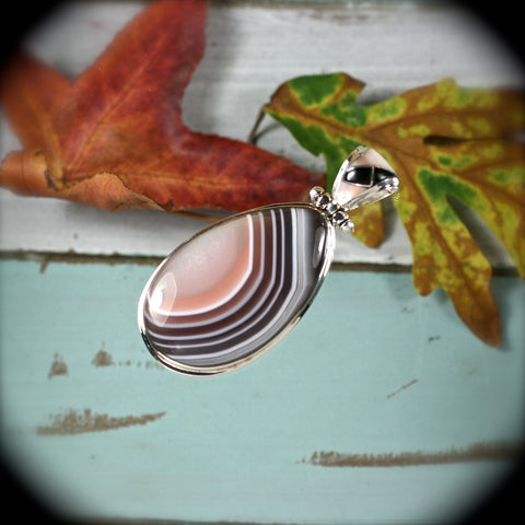 Botswana Agate sterling silver pendant - Rusmineral cabochons&jewelry
