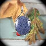 Dumortierite sterling silver pendant - Rusmineral cabochons&jewelry