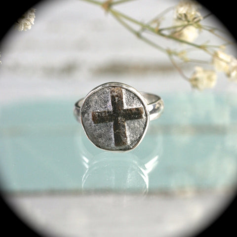 Cruciform twinned staurolite crystals sterling silver ring
