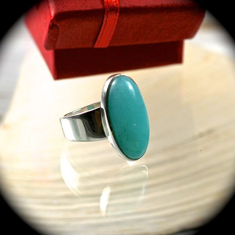 Amazonite sterling silver ring - Rusmineral cabochons&jewelry