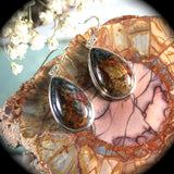 Pietersite sterling silver earrings