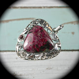 Eudialyte sterling silver pendant - Rusmineral cabochons&jewelry - 2