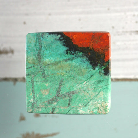 Sonora Sunrise Chrysocolla two sides polished square cabochon