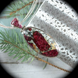 Eudialyte sterling silver pendant/necklace with inlaid bail - Rusmineral cabochons&jewelry