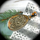 Simbircite Pyrite Drusy pendant with inlaid bail - Rusmineral cabochons&jewelry - 2