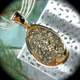 Simbircite Pyrite Drusy pendant with inlaid bail - Rusmineral cabochons&jewelry - 1