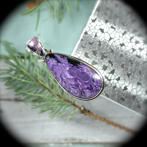 Charoite Sterling Silver pendant w/inlaid bail - Rusmineral cabochons&jewelry
