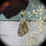 Pyrite Druzy sterling silver pendant - Rusmineral cabochons&jewelry - 1