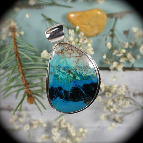 Chrysocolla sterling silver pendant - Rusmineral cabochons&jewelry