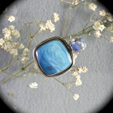 Swedish Blue sterling silver pendant w/inlaid bail