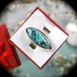 Shattuckite Sterling Silver ring - Rusmineral cabochons&jewelry - 3