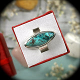 Shattuckite Sterling Silver ring - Rusmineral cabochons&jewelry - 2