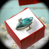 Shattuckite Sterling Silver ring - Rusmineral cabochons&jewelry - 1