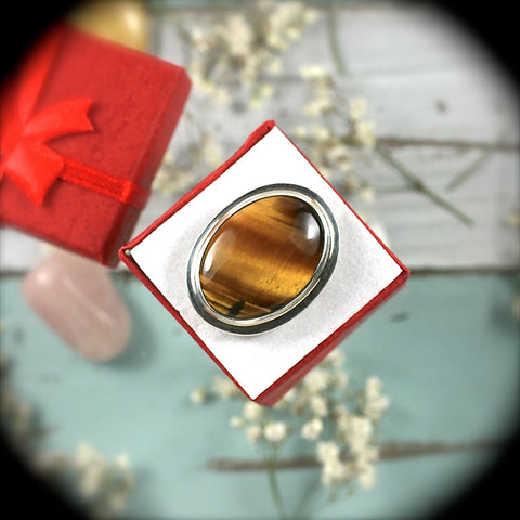 Tiger Eye Sterling Silver ring - Rusmineral cabochons&jewelry - 1