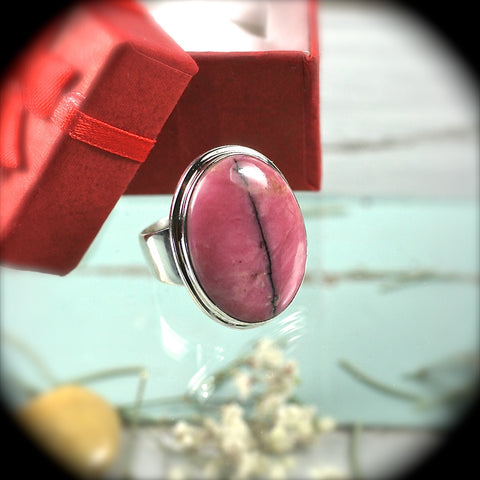 Rhodonite Sterling Silver ring - Rusmineral cabochons&jewelry - 1