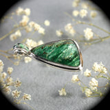 Fuchsite sterling silver pendant with inlaid bail