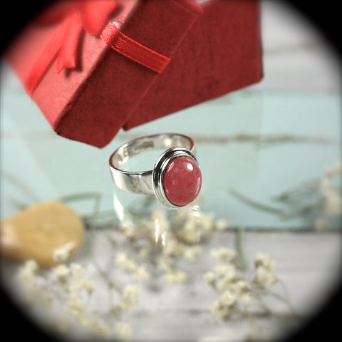 Rhodochrosite Sterling Silver ring - Rusmineral cabochons&jewelry - 1