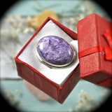 Charoite Sterling Silver ring - Rusmineral cabochons&jewelry