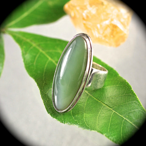Siberian Cat Eye Nephrite Jade sterling silver ring