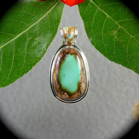 Royston Turquoise Pendant with inlaid bail