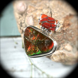 Ammolite sterling silver pendant with inlaid bail - Rusmineral cabochons&jewelry - 4