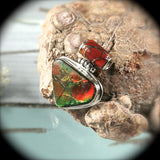 Ammolite sterling silver pendant with inlaid bail - Rusmineral cabochons&jewelry - 2