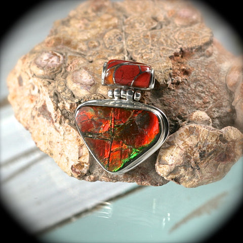 Ammolite sterling silver pendant with inlaid bail - Rusmineral cabochons&jewelry - 1