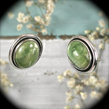 Opal after Serpentine gemstone sterling silver earrings - Rusmineral cabochons&jewelry - 1