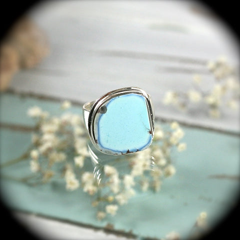 Natural Turquoise sterling silver ring - Rusmineral cabochons&jewelry - 1