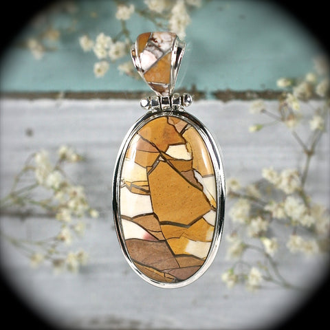 Brecciated Mookaite Jasper pendant w/inlaid bail - Rusmineral cabochons&jewelry